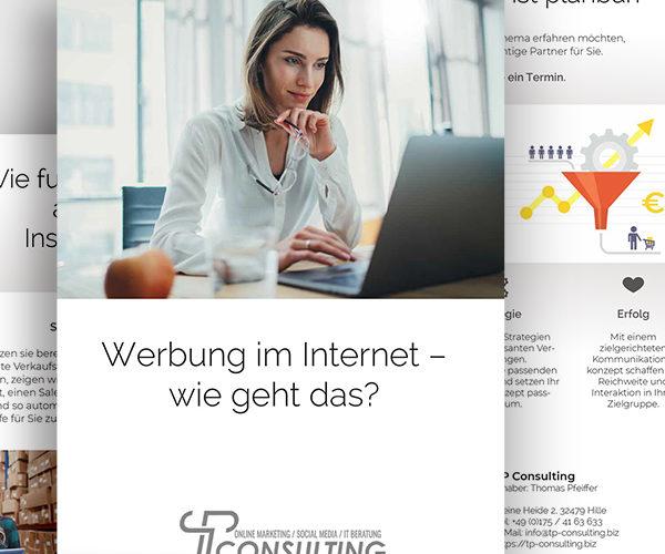 Faltblatt und 16-Seiter zum Thema Werbung im Internet