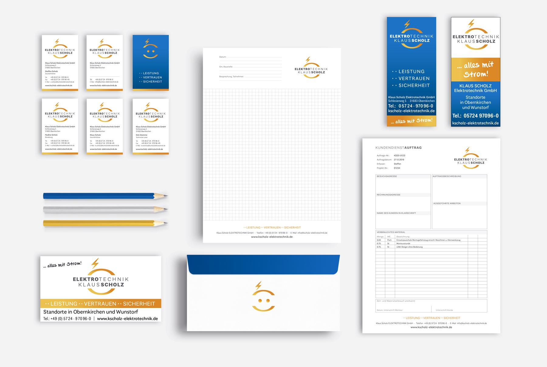 Visitenkarten, Geschäftspapier, Stundenzettel, Anzeigen
